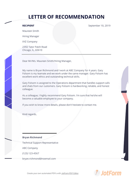 Letter Of Recommendation Template For