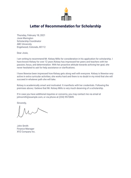 Letter Of Recommendation For