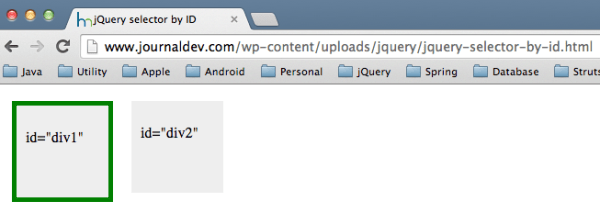 jQuery select by id - JournalDev