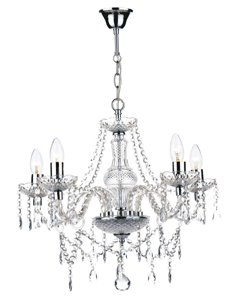 Dar Lighting Kat Katie 5 Light Chandelier Polished