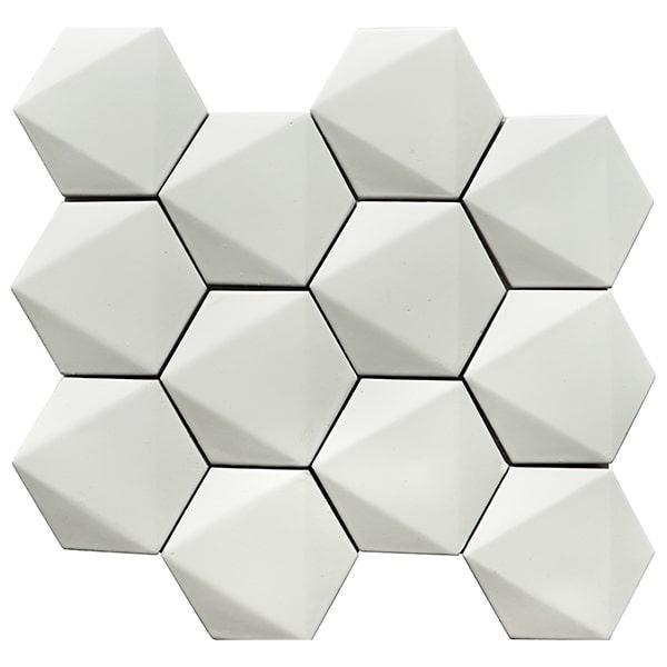 3 white hexagon cement tile 3d looking