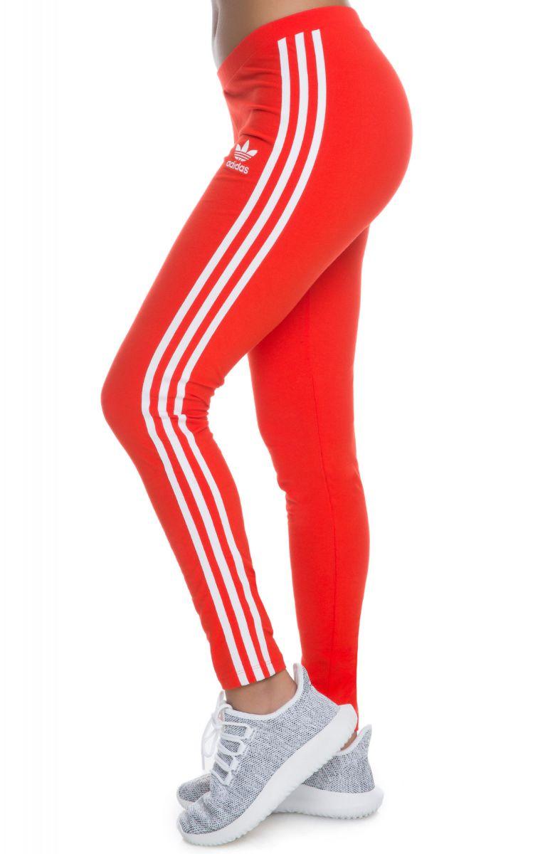 Adidas Leggings 3 Stripe Core Red