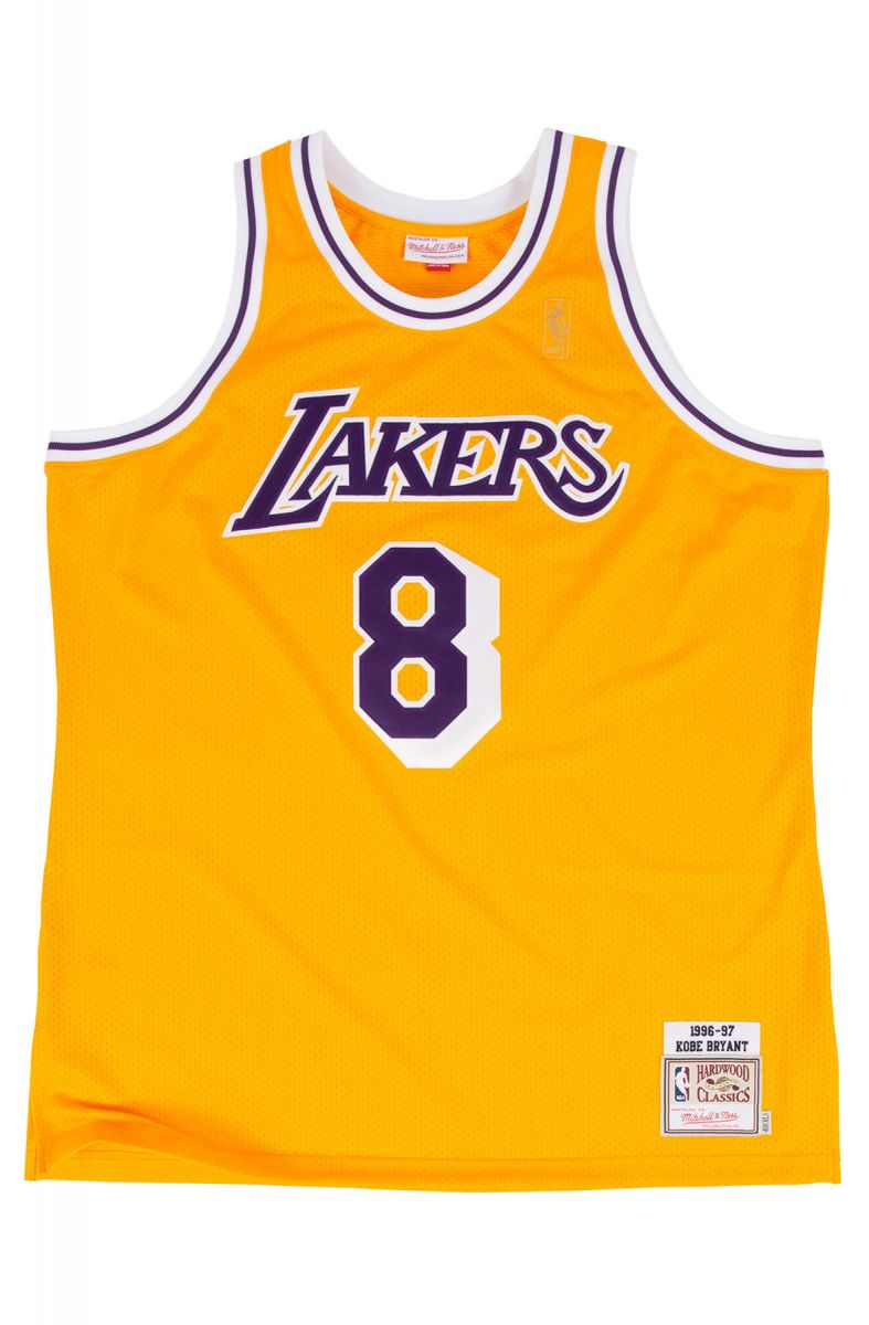 The LA Lakers Authentic Kobe Bryant 8 Basketball Jersey In Gold