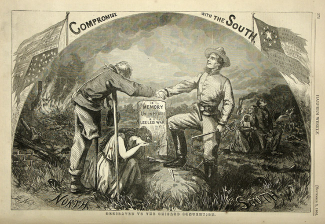 "Cartoon showing a Southern veteran and a Northern veteran (missing a leg) shaking hands over a tombstone that reads ""In Memory of Union Heroes in a Useless War."" In the background, an African American family kneels in chains."