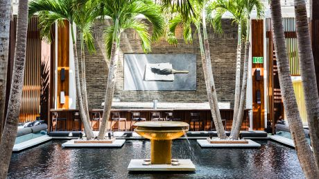 Amenities include three infinity pools, plush chairs on the white sand beaches, spa, gym, room service, and valet. The Setai Miami Florida