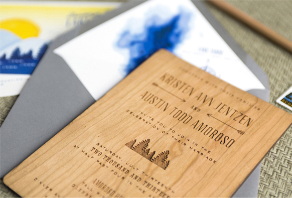 Lake Tahoe Wedding Invitations With Swiss Cottage Designs