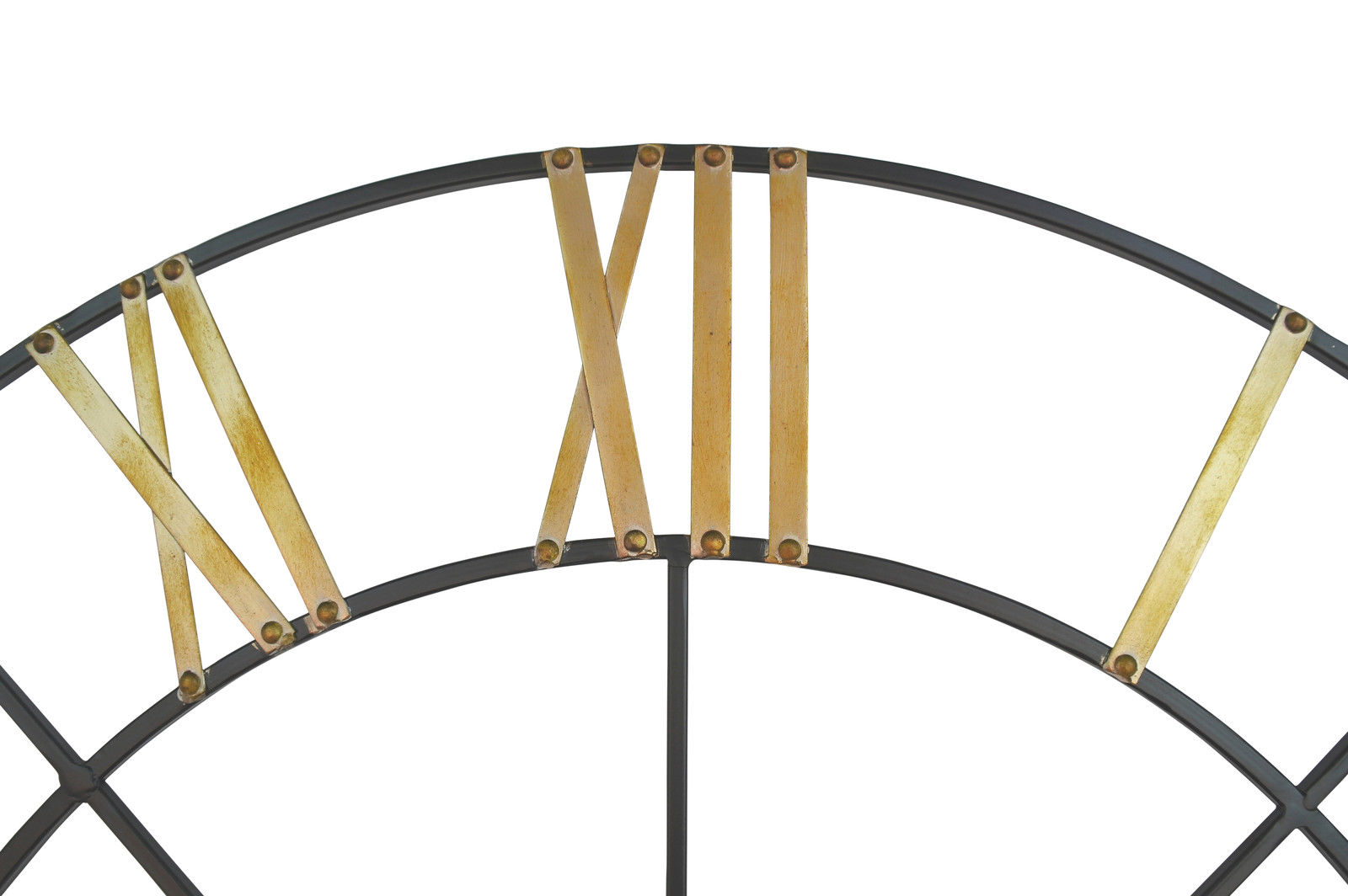 Large 102cm Metal Wall Clock With Gold Numerals Furniture