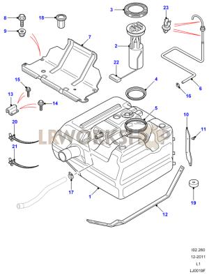 Fuel Tank  300TdiTd5 from XA  Land Rover Workshop