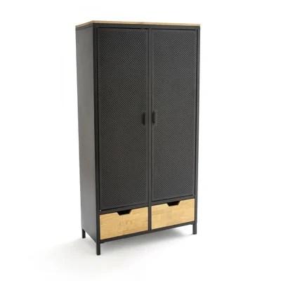 armoire 2 portes metal et chene agama la redoute interieurs