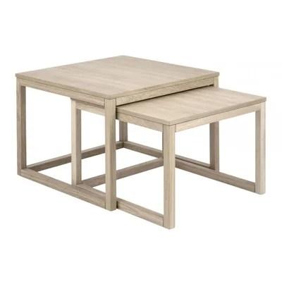 table basse chene blanchi la redoute