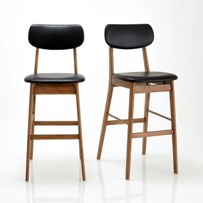 chaise bois et cuir noir la redoute