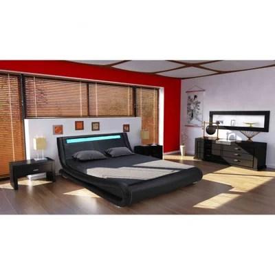lit 140x190 noir avec sommier la redoute