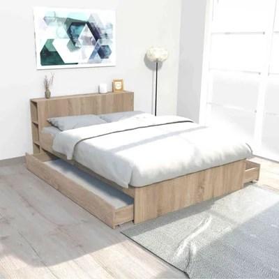 lit double bois blanc la redoute