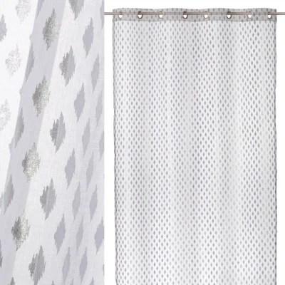 rideau blanc et argent la redoute