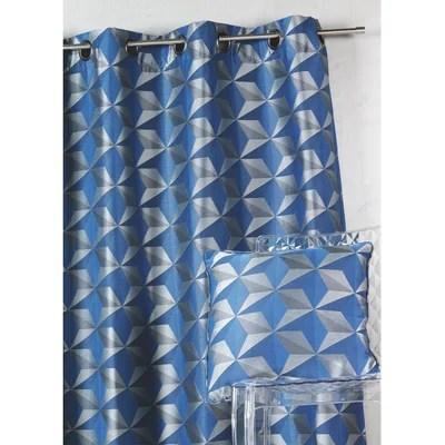 rideau geometrique bleu la redoute