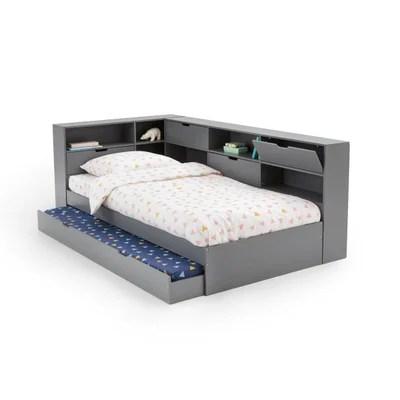 lit 2 personnes gris la redoute