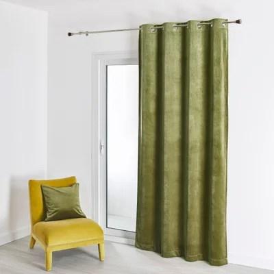 rideaux velours vert la redoute