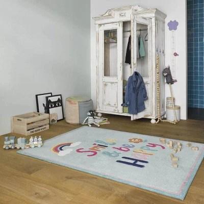 tapis chambre bleu turquoise la redoute