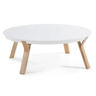 table basse ronde blanc laque la redoute