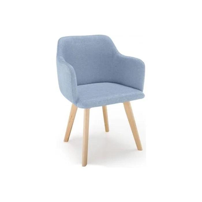 chaise scandinave tissu bleu crush