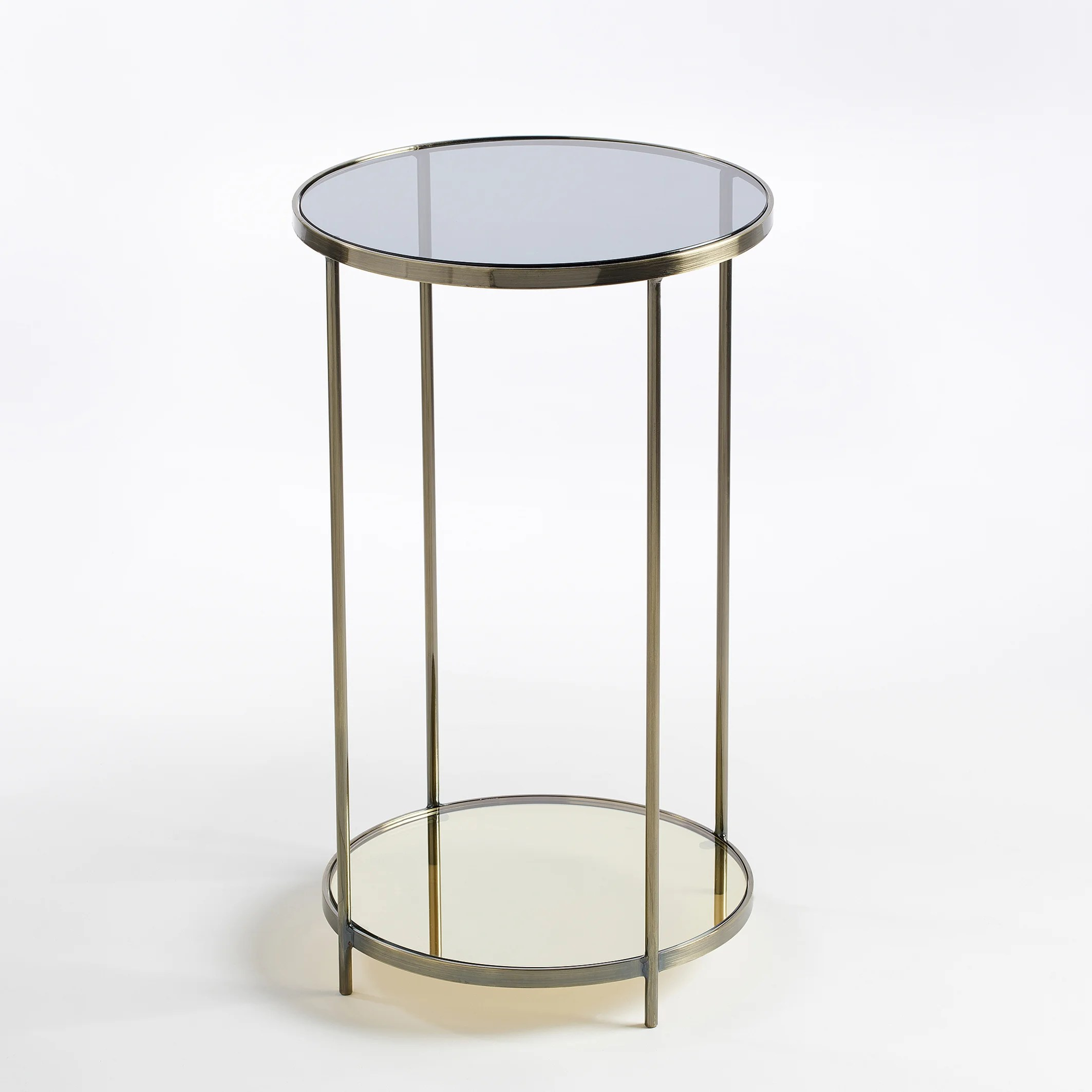 ulupna round bedside table side table in brass glass
