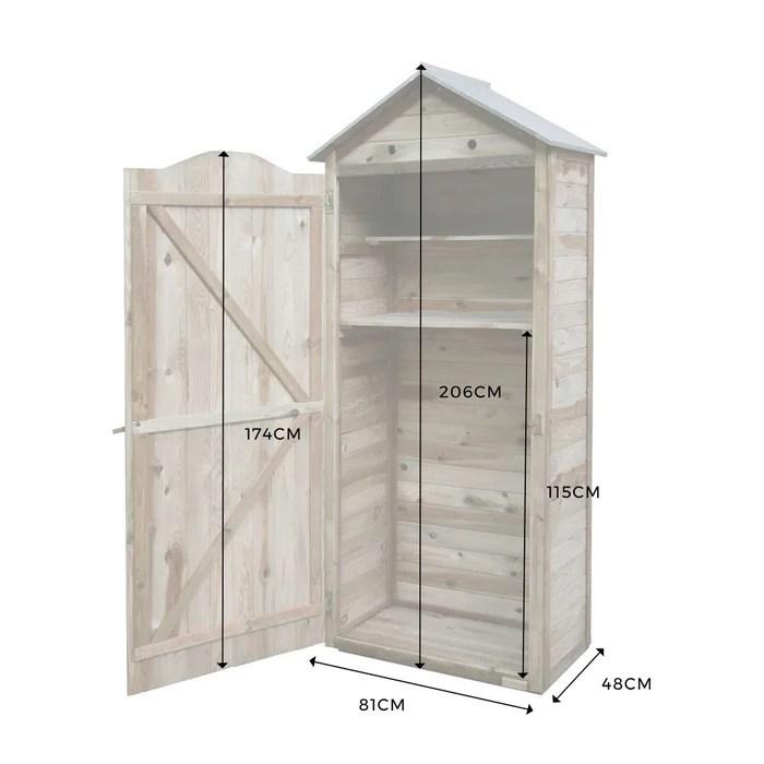 armoire de rangement de jardin en bois traite 206x88x58cm panama