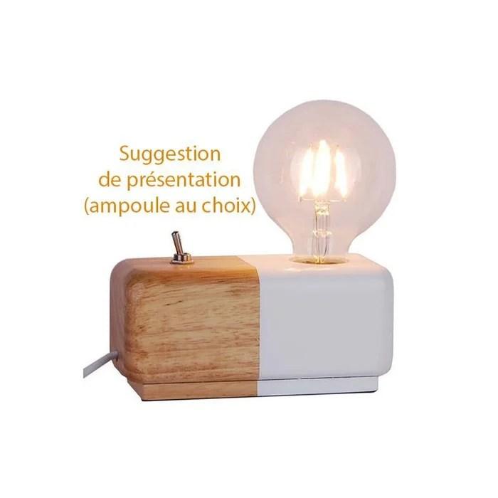 lampe decorative design scandinave en bois bicolore domino