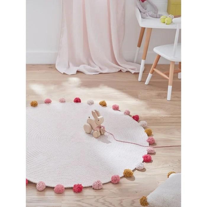 tapis rond pompons en coton