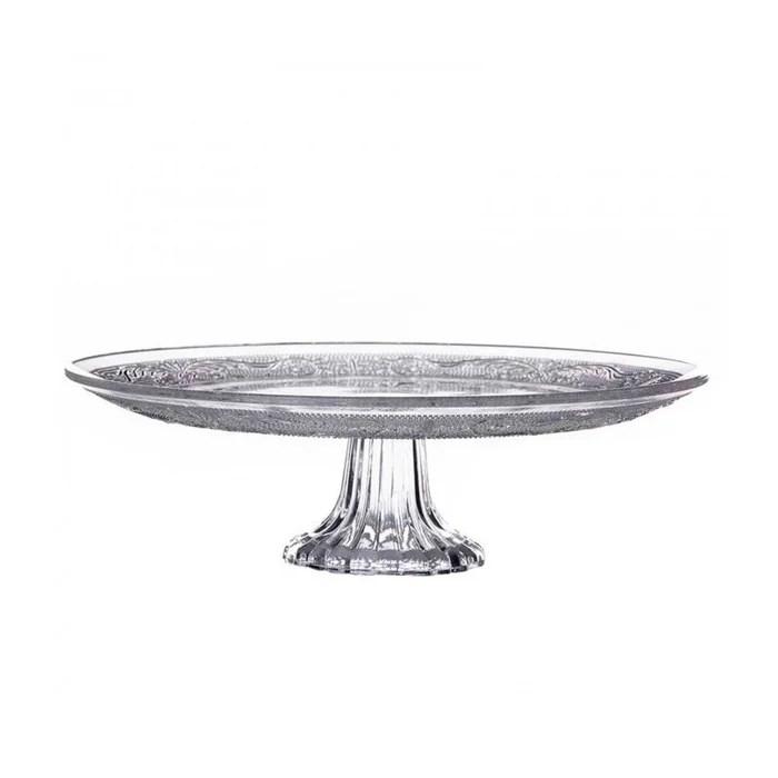 presentoir a gateau tarte sur pied rond en verre diam 25cm