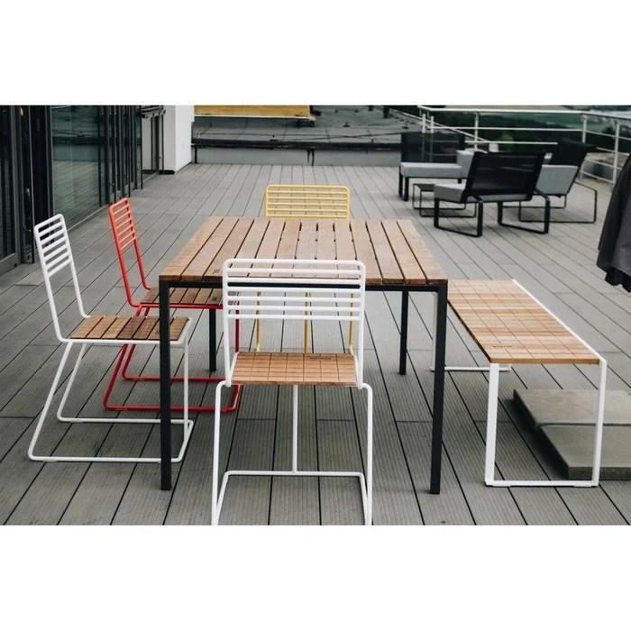 salon de jardin egoe table rectangulaire cora banc bistrot et 4 chaises tina