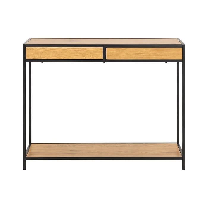 console industrielle 2 tiroirs en metal et bois l100 cm tresca