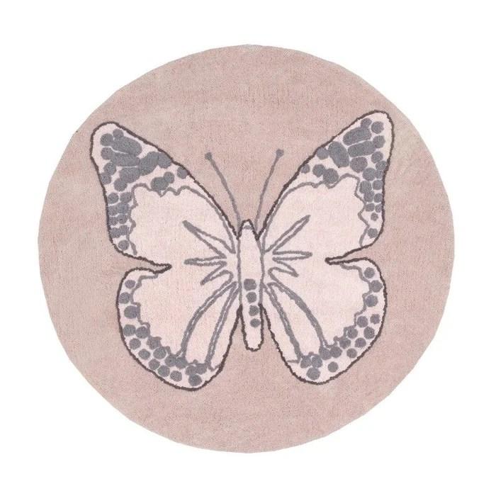 tapis rond pour chambre de fille rose reversible butterfly