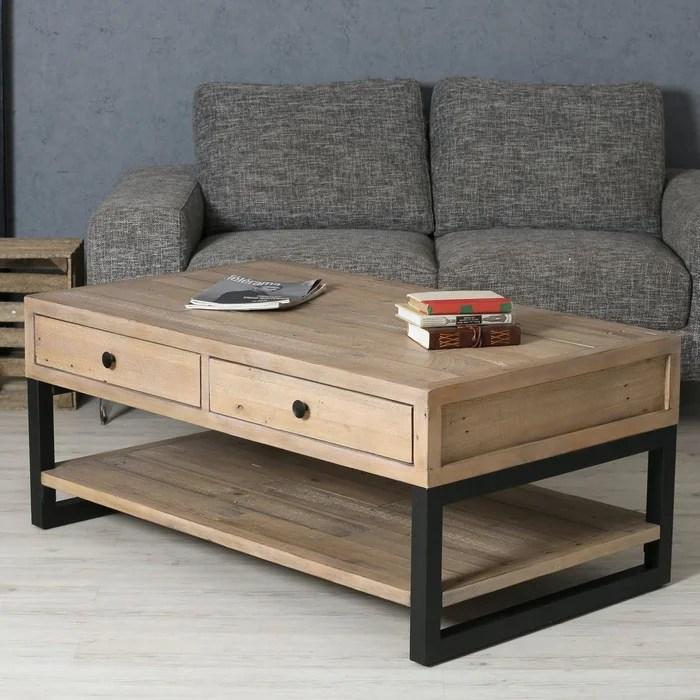table basse style industriel en bois recycle avec tiroirs et pieds metal 120 cm auckland