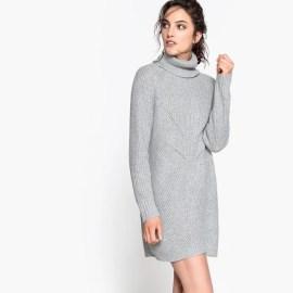 Imagen de Vestido jersey con cuello vuelto, de lana y alpaca La Redoute Collections