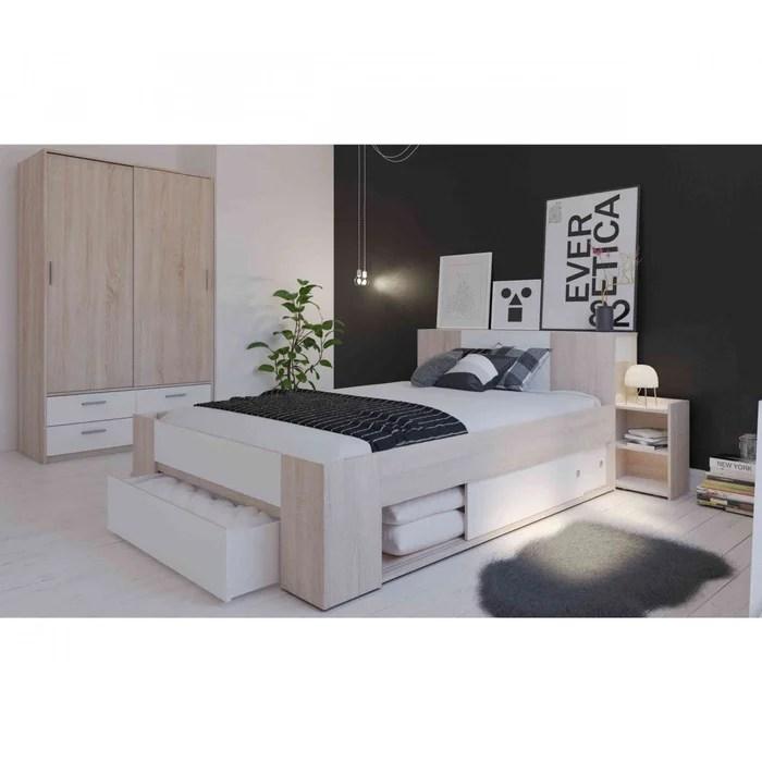 lit avec rangement en bois chene brosse et blanc environnement bois naturel terre de nuit la redoute