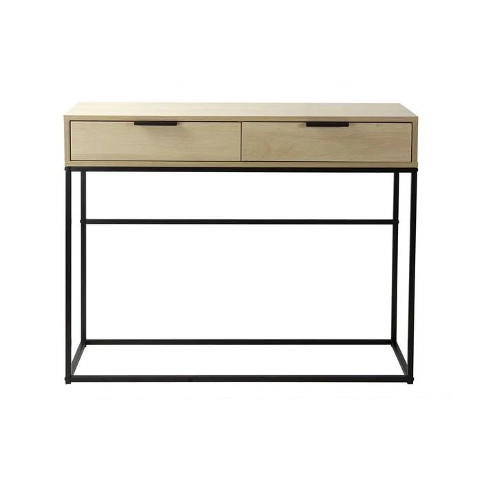 console 2 tiroirs decor chene clair et metal noir