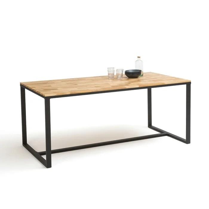 table a manger 8 couverts chene et acier hiba