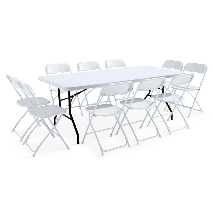 table monobloc et chaises pliantes 10 places 200cm pehd
