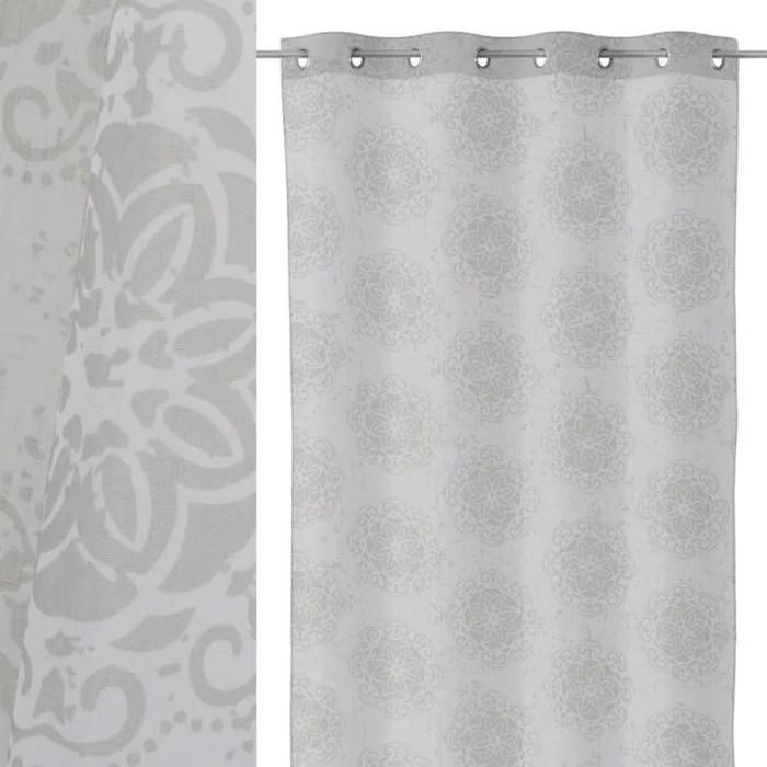 voilage blanc gris lot de 2 mandala