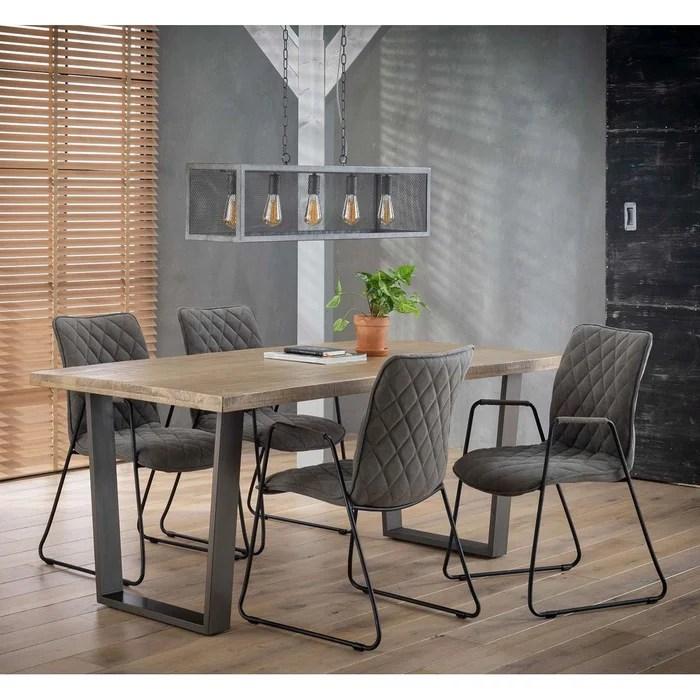table a manger style industriel contemporain plateau bois naturel pieds metal 180cm lucknow