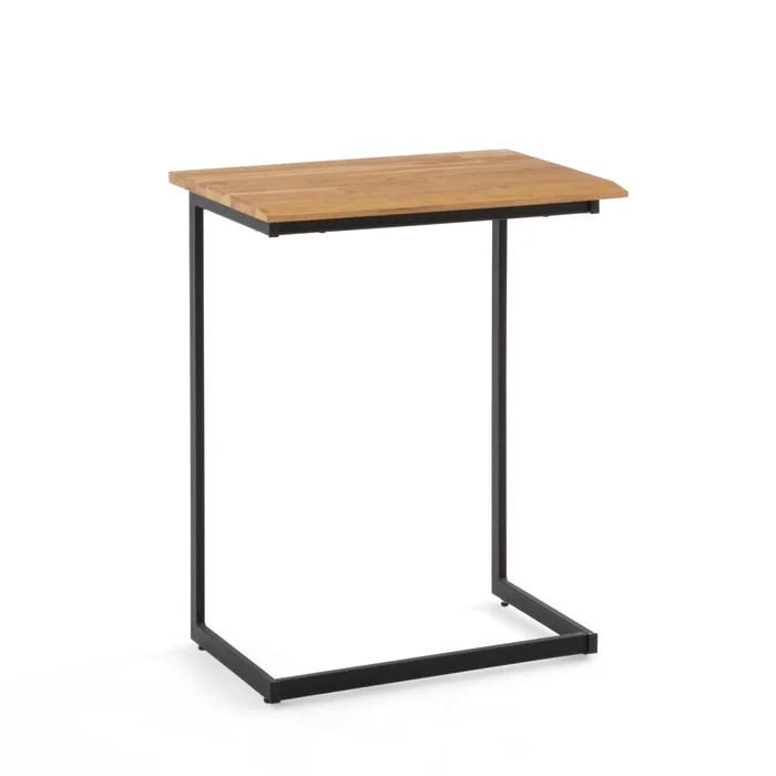 hiba industrial style side table in solid oak steel