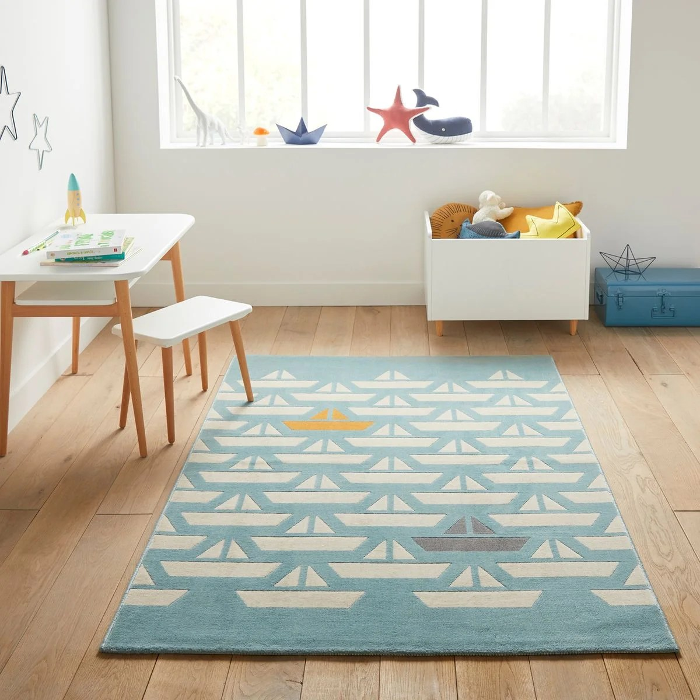 tapis enfant motif bateaux galet