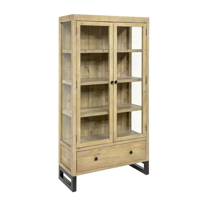 bibliotheque vitree en bois recycle clair 4 niveaux style industriel pieds metal 90 x 170 cm auckland