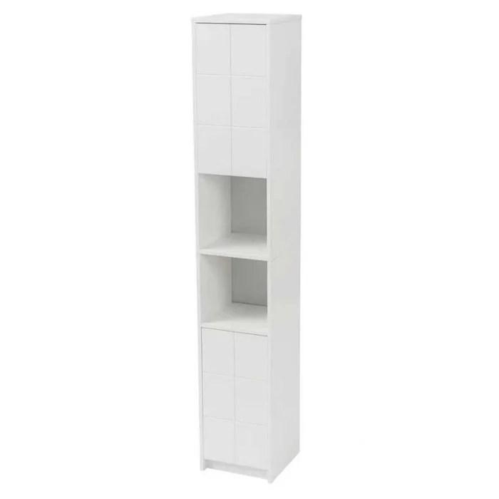 etagere salle de bain colonne bois blanc