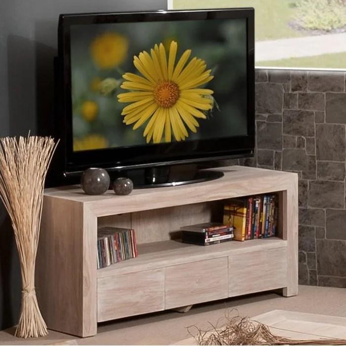 meuble tv 120cm bois de teck 3 tiroirs 1 niche style contemporain diane