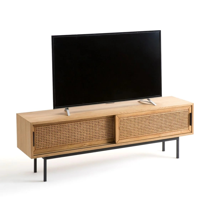 meuble tv chene et cannage 160 cm waska