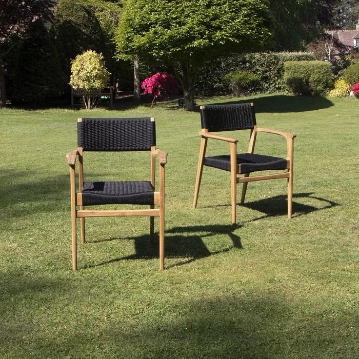 fauteuil de jardin en teck et cordage noir