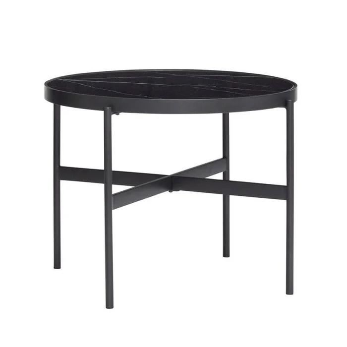 table basse ronde metal verre effet marbre