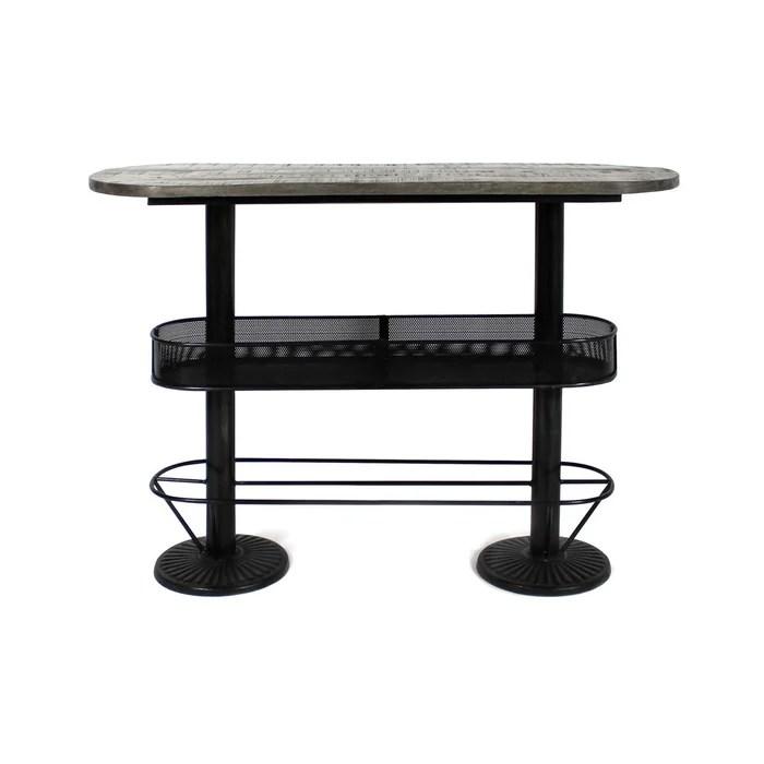 table haute ovale bois metal patine grise avec rangement