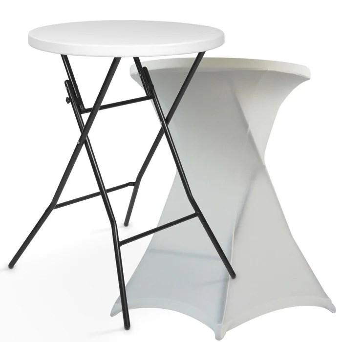 table haute mange debout housse ecrue